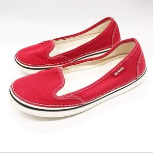 Red Canvas Crocs